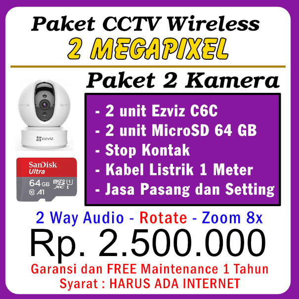 Paket CCTV WiFi C6C 1080P – 2 Kamera