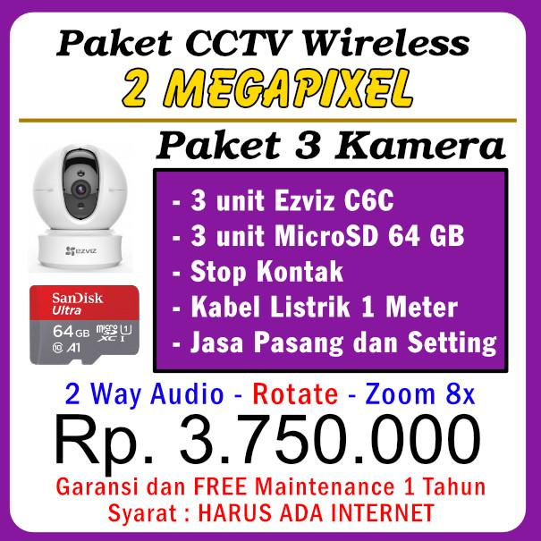 Paket CCTV WiFi C6C 1080P – 3 Kamera