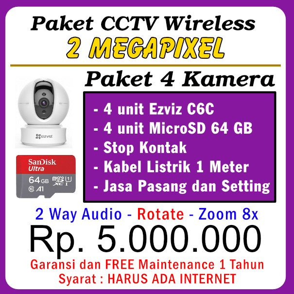 Paket CCTV WiFi C6C 1080P – 4 Kamera